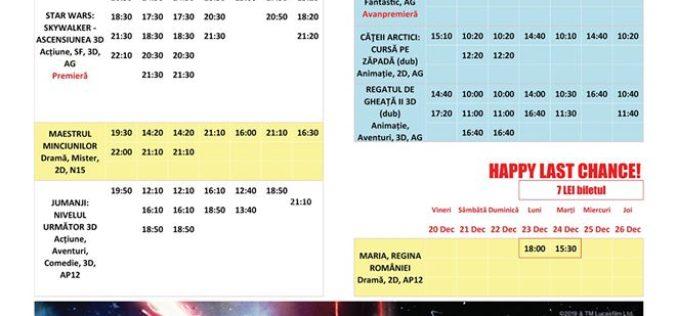 Programul filmelor la Happy Cinema în perioada 20-26 decembrie