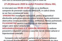 Campanie gratuită de testare a sănătății populației la Căianu Mic
