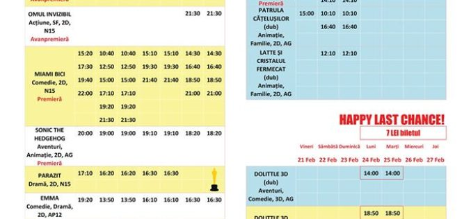 Programul filmelor la Happy Cinema în perioada 21-27 februarie