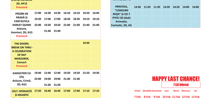 Programul filmelor la Happy Cinema în perioada 7 – 13 februarie