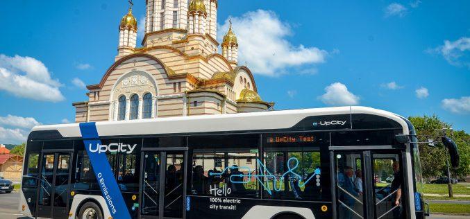 ATP Bus e-UpCity, primul autobuz electric românesc, intră în teste în al treilea oraș din țară